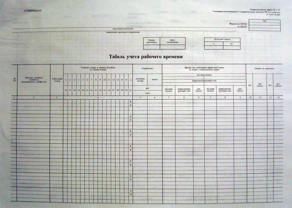 Табель учёта рабочего времени | форма т-12 и т-13.